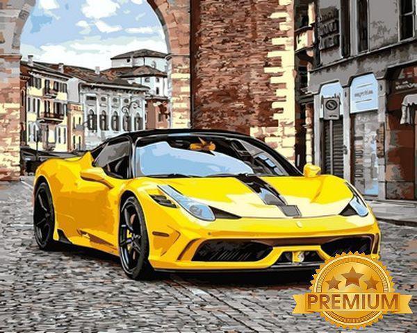 Картина по номерам 40×50 см. Babylon Premium (цветной холст + лак) Феррари 458 (NB 949)