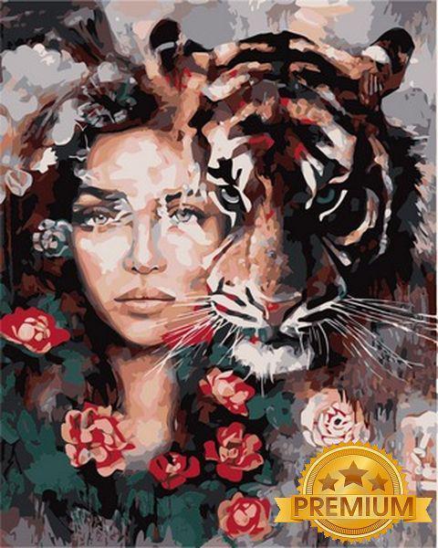 Картина по номерам 40×50 см. Babylon Premium (цветной холст + лак) Хищница Художник Димитра Милан (NB 966)
