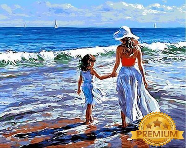 Картина по номерам 40×50 см. Babylon Premium (цветной холст + лак) Прогулка с мамой Художник Волегов Владимир (NB 723)