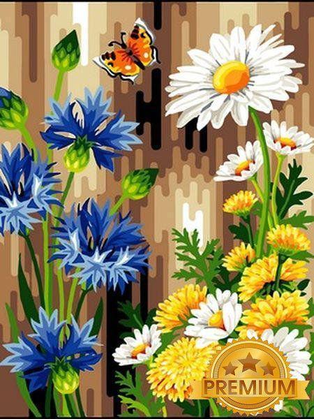 Картина по номерам 40×50 см. Babylon Premium (цветной холст + лак) Васильки и ромашки (NB083)