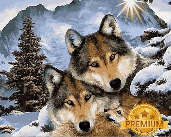 Картина по номерам 40×50 см. Babylon Premium (цветной холст + лак) Семья серых волков (NB1023)
