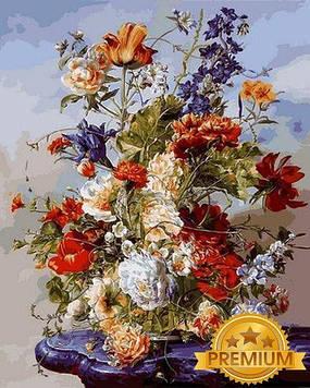 Картина по номерам 40×50 см. Babylon Premium (цветной холст + лак) Цветочная рапсодия II Художник Дьюла Шишка (NB1040)