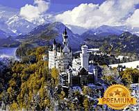 Картина по номерам 40×50 см. Babylon Premium (цветной холст + лак) Замок Нойшванштайн баварского короля Людвига II (NB1094)
