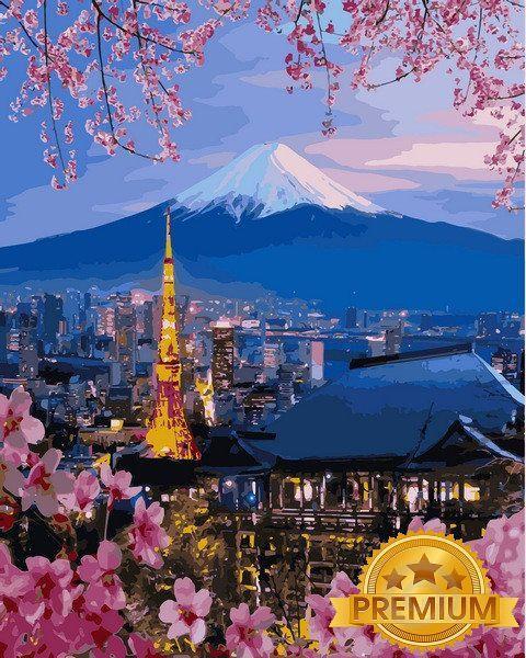 Картина по номерам 40×50 см. Babylon Premium (цветной холст + лак) Йокогама и гора Фудзияма (NB1112)