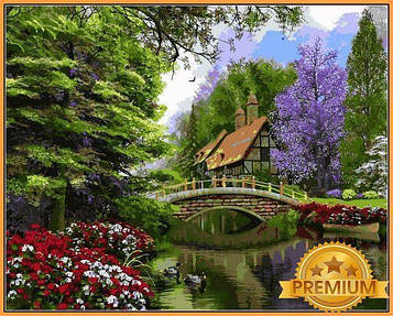 Картина по номерам 40×50 см. Babylon Premium (цветной холст + лак) Речной коттедж Художник Доминик Дэвисон (NB 1158)