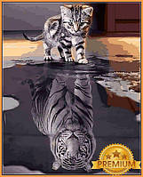 Картина за номерами 40×50 см Babylon Premium (кольоровий полотно + лак) Кошеня - Тигр «Вір у себе». (NB 2181)