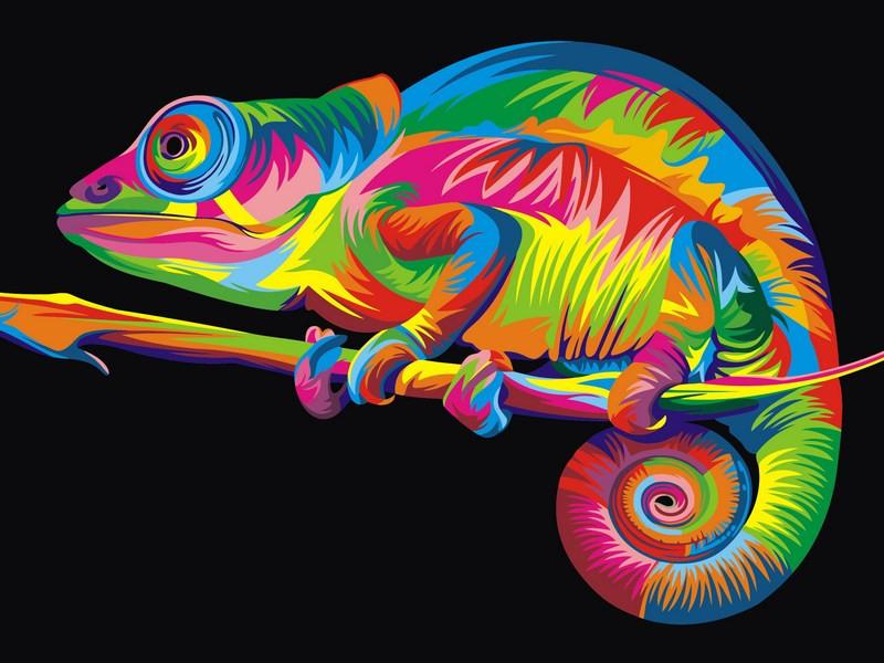 Картина по номерам 30×40 см. Babylon Радужный хамелеон Художник Ваю Ромдони (VK 005)