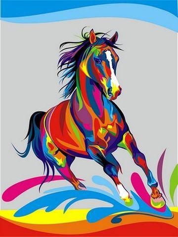 Картина по номерам 30×40 см. Babylon Радужный конь Художник Ваю Ромдони (VK 040)