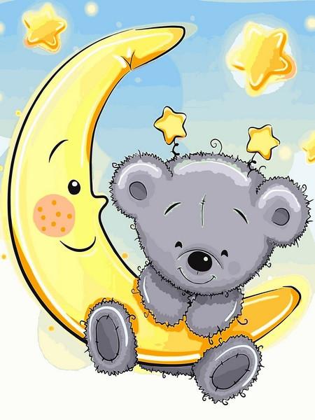 Картина по номерам 30×40 см. Babylon Мишка на луне (VK 228)