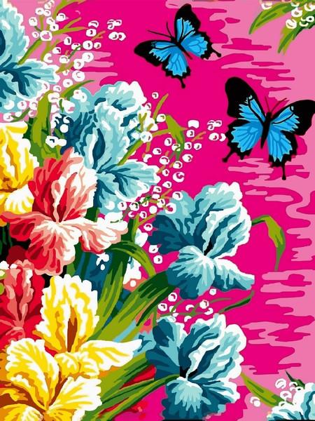 Картина по номерам 30×40 см Babylon Ирисы и бабочки (VK 247)