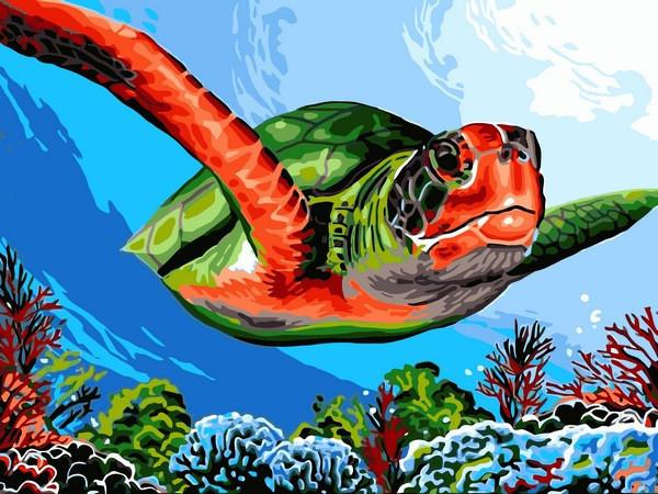 Картина по номерам 30×40 см Babylon Зелёная черепаха (VK 236)