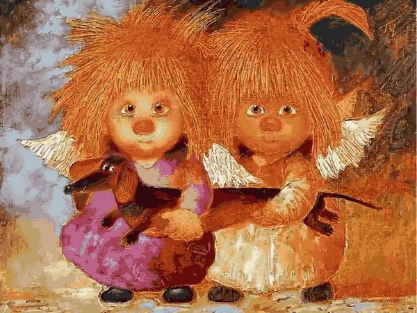 Картина по номерам 30×40 см Babylon Солнечные ангелы с таксой (VK 235)