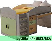 Кровать чердак + выкатной письменный стол Design Service (778)