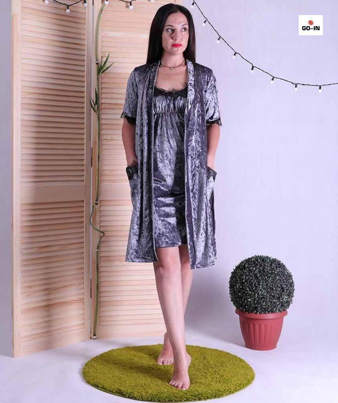 Комплект халат і сорочка для вагітних сірий з мереживом 42-52р