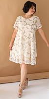 Женское летнее яркое и легкое платье из софта с принтом А- силуэт . Большого размера Р- 52, 54, 56, 58
