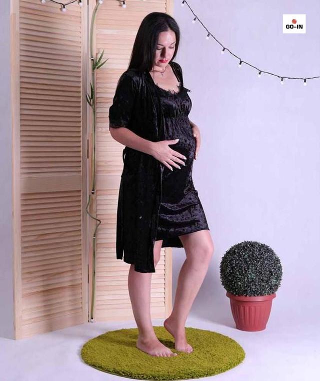 Комплект халат и сорочка для беременных черный с кружевом 42-52р