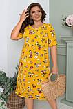 Летнее легкое платье женское большого размера 50,52,54,56, короткий рукав, с карманами, цвет Желтый, фото 2