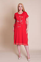 Платье большого размера на лето красного цвета вискоза. Лето 2020. Турция.  Продажа оптом и в розницу, фото 1