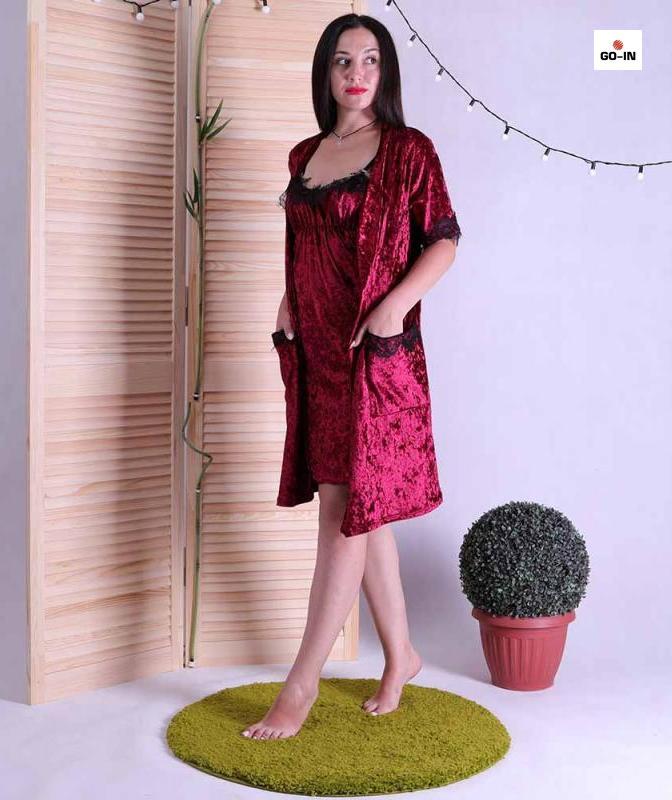 Комплект для беременных халат и сорочка бордовый с кружевом 42-52р