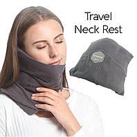 Подушка для подорожей Travel pillow розмір 18х18см, флісова тканина, сіра, Подушка, Подушки підголовники