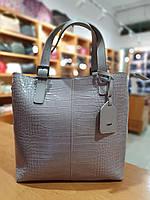 Жіноча сумка з якісної екошкіри в принті кроко , 34-29-14 см , колір бузковий