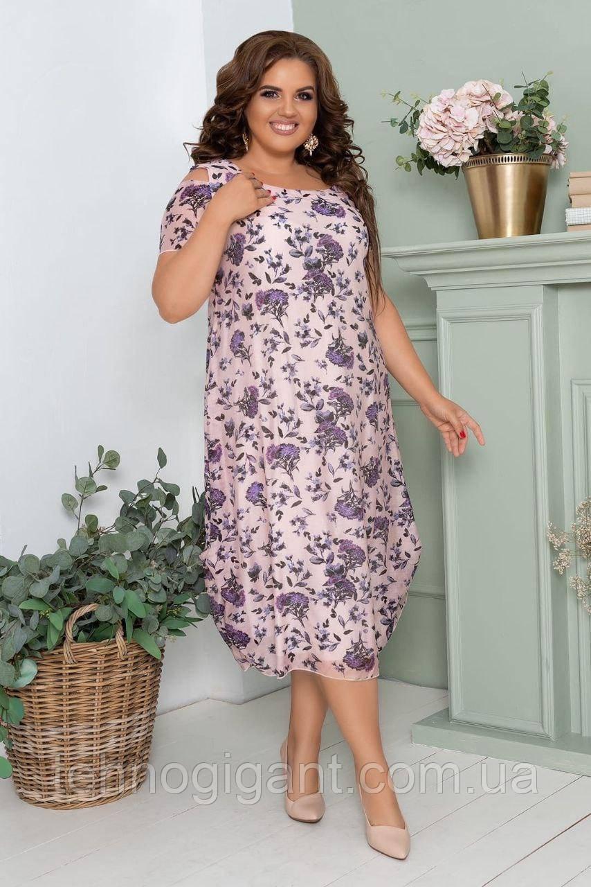 Нарядное летнее шифоновое платье с открытыми плечами больших размеров 50,52,54,56, Сиреневое с цветами