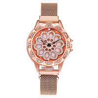 Жіночі наручні годинники Rotation Watch рожеві, кварцові, від батарейок, металева сітка, годинники жіночі, наручний годинник, Годинники