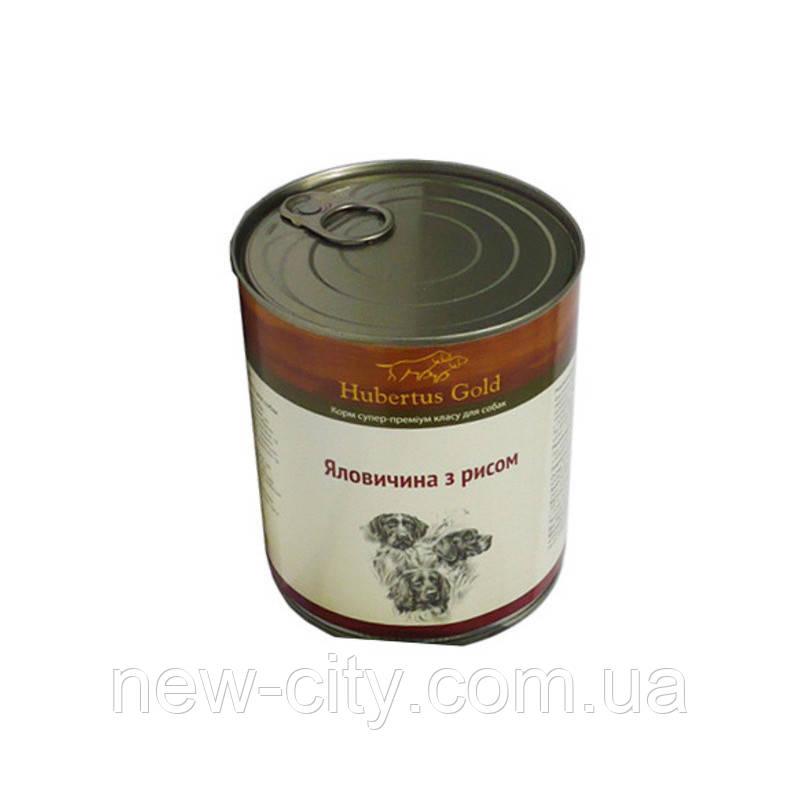"""Hubertus Gold (Хьюбертус Голд) Консервы """" Говядина с рисом"""" для активных собак 800г"""