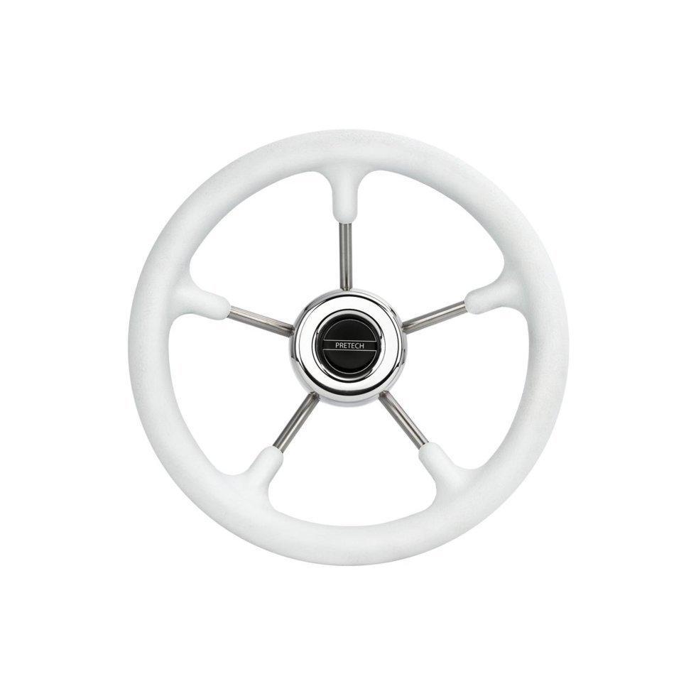 Рулевое колесо PRETECH 320mm белый нержавейка