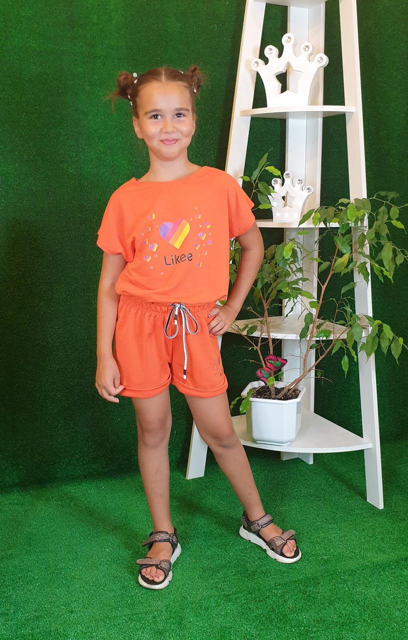 Летний костюм топ с шортами Likee  122,128,134 оранжевый