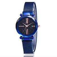 Жіночі наручні годинники Sky Watch сині, кварц, ремінець магнітний 16х220мм, скло загартоване ударостійке, наручний годинник