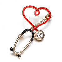 Брошка медична «Стетоскоп з серцем»