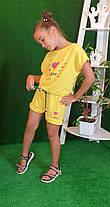 Летний костюм топ с шортами Likee  140,146,152 желтый, фото 2