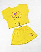 Летний костюм топ с шортами Likee  140,146,152 желтый, фото 3
