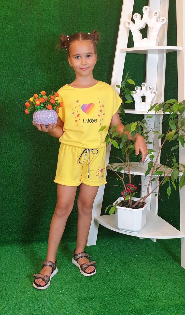 Летний костюм топ с шортами Likee  140,146,152 желтый