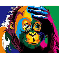 Картина по номерам  Радужная обезьяна. Худ. Ваю Ромдони, 40x50 см., Babylon