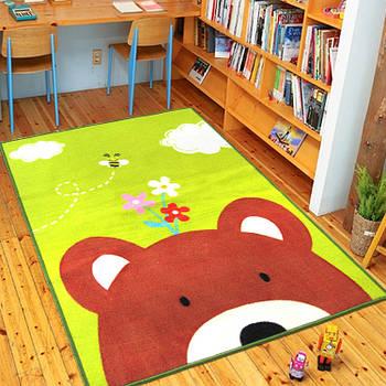 Нейлоновый ковер на резиновой основе для детской комнаты Berni Медведь 100х130см Разноцветный (45980)