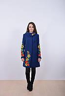 Классическое кашемировое пальто в синем цвете с роскошной украинской вышивкой