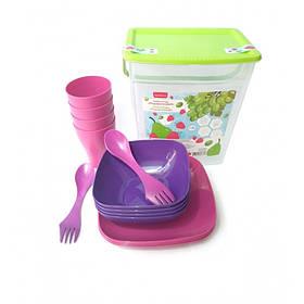 Набір пластикового посуду на 4 персони Алеана 169042