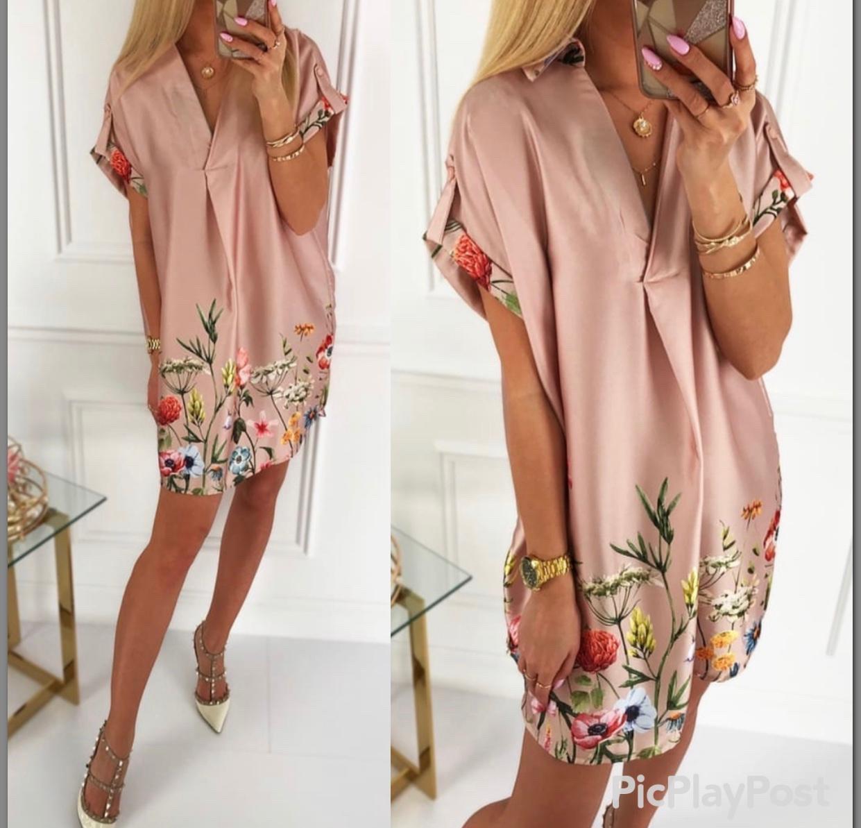 Шелковое платье с цветочным принтом Турция пудра