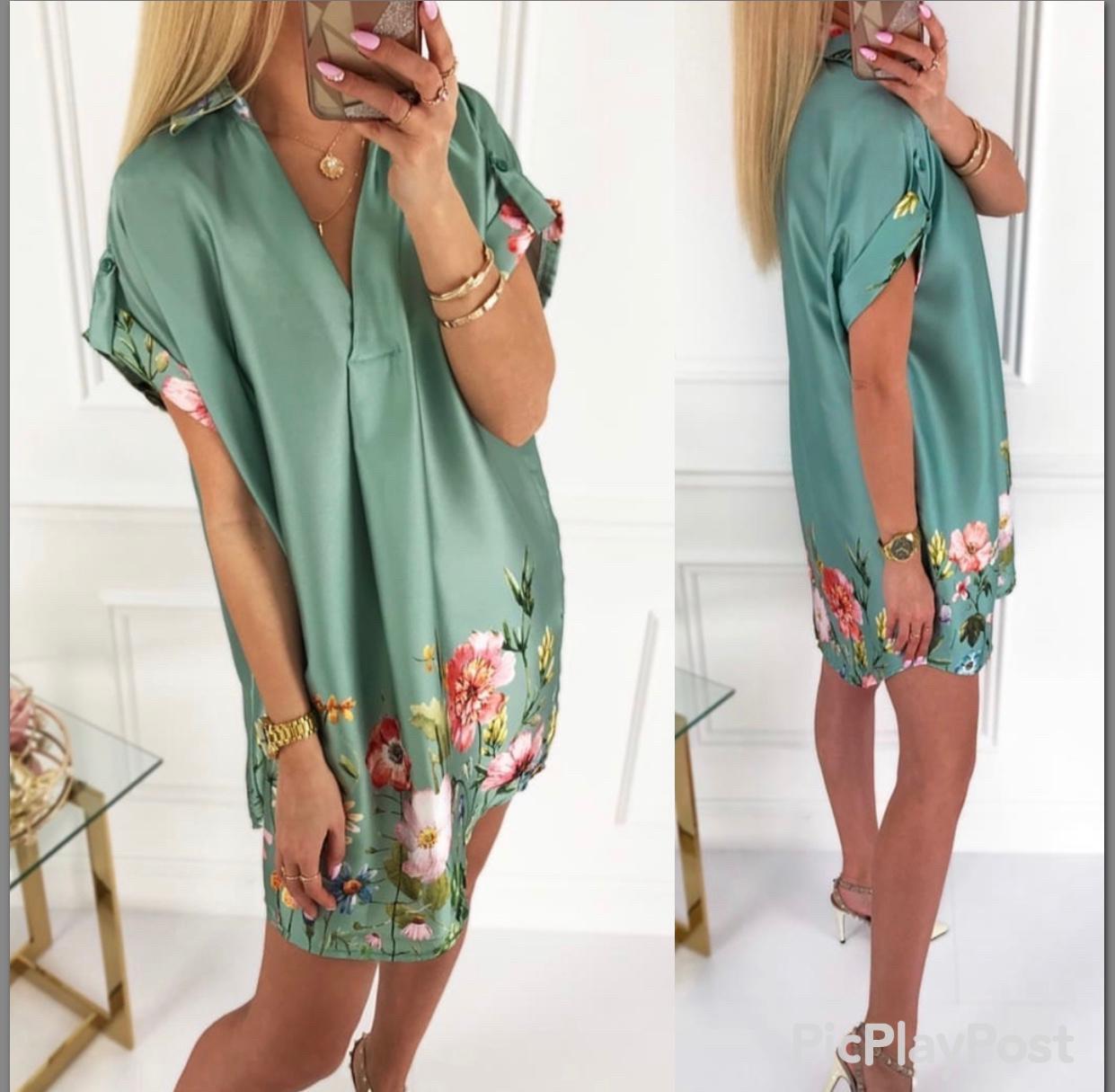 Шелковое платье с цветочным принтом Турция зеленое