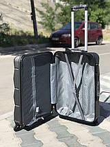 Средний пластиковый чемодан из поликарбоната темно-серый, фото 3