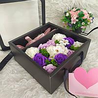 Подарок девушке. Набор роз из мыла и зайчик. подарок на день рождения. Супер подарок