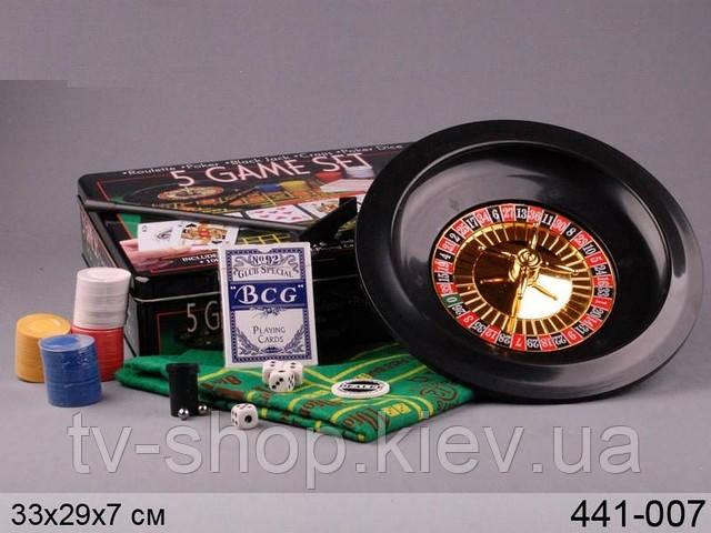 Игровой набор 5 в 1 (покер,рулетка,кости)