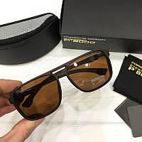 Мужские солнцезащитные очки авиаторы Porsche реплика Коричневые, фото 1