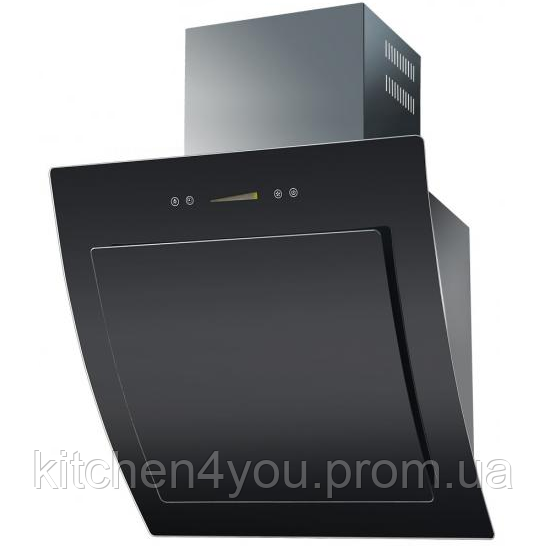 Ventolux Aurora 60 black glass похила кухонна витяжка чорне загартоване скло