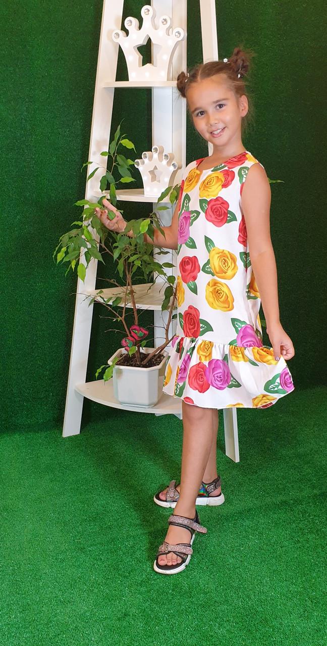 Летнее Платье цветочный принт  для девочки 134,140,146,152  цветы на белом