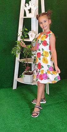 Летнее Платье цветочный принт  для девочки 134,140,146,152  цветы на белом, фото 2