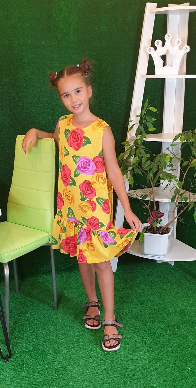 Летнее Платье цветочный принт  для девочки 134,140,146,152  цветы на желтом