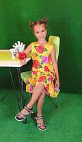 Летнее Платье цветочный принт  для девочки 134,140,146,152  цветы на желтом, фото 2